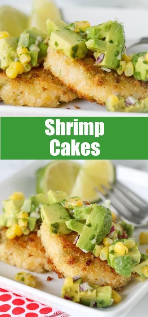 Crispy shrimp cakes on plate with avocado salsa