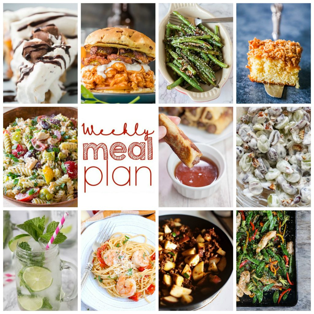 Weekly Meal Plan Week 106– 10 great bloggers bringing you a full week of recipes including dinner, sides dishes, and desserts!