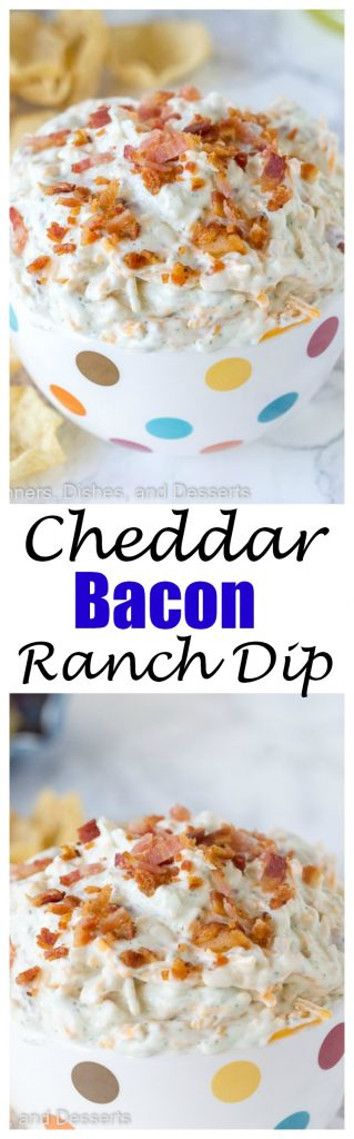Cheddar Bacon Ranch Dip - just a handful ingredients make this super easy dip. Great for parties, picnics, on the go, or just about any time!