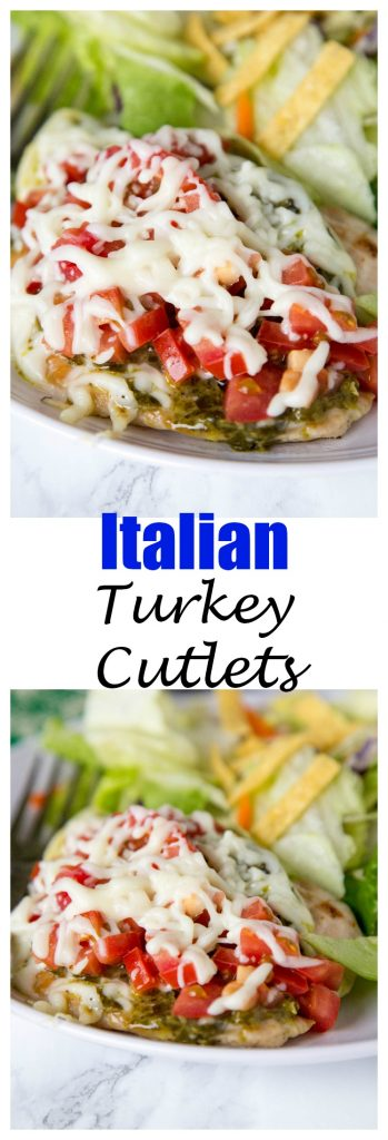 Italian Turkey Cutlets - (great with chicken too) thick pieces of turkey seared and topped with pesto, tomatoes, and melty cheese. Ready in 15 minutes, and great any night of the week!