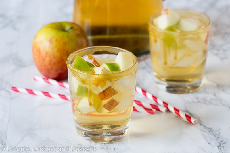 A glass with Apple and Sangria