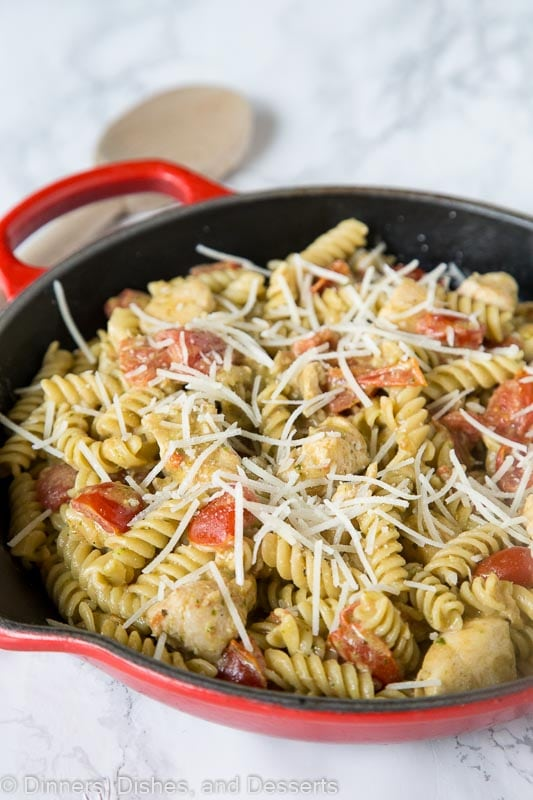Chicken Pesto Pasta - a quick and easy creamy pasta with chicken, tomatoes, and pesto. Great for busy weeknights or when you want easy comfort food.