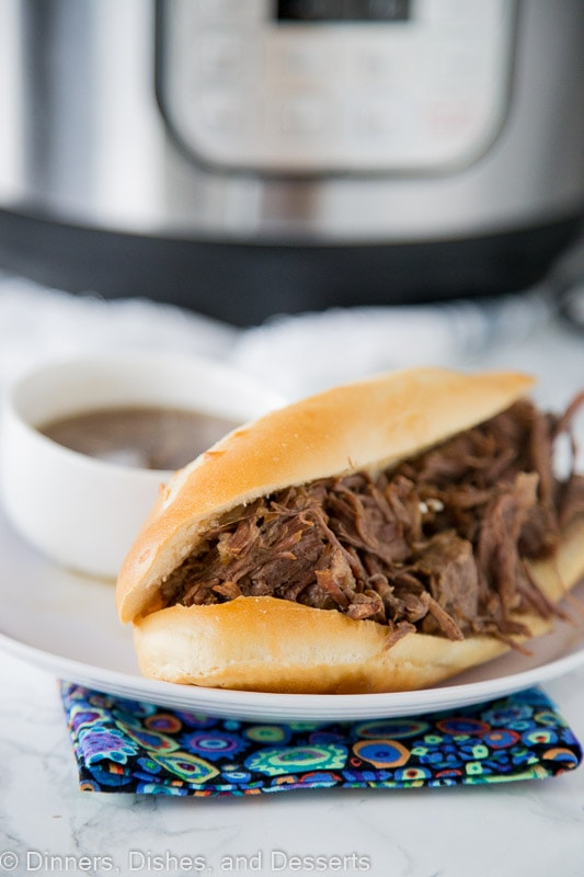 Instant Pot French Dip Sandwiches - make super tender and juicy french dip sandwiches in a fraction of the time using the instant pot!