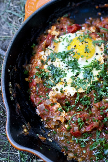 Farmer's Market Tomato Sauce and Poached Eggs {Shakshuka} {Foodie with Family)