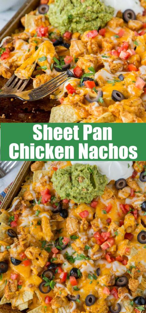 chicken nachos on a big sheet pan close up