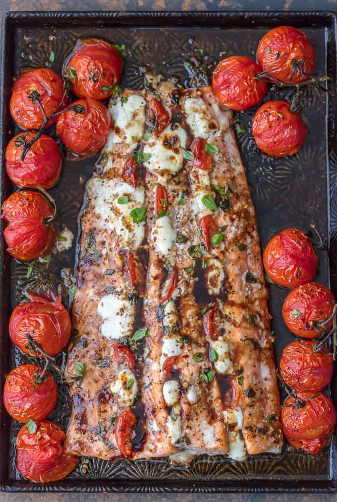 Caprese Stuffed Salmon {The Cookie Rookie}