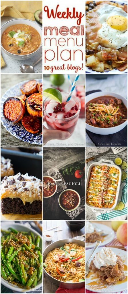 Weekly Meal Plan Week 121 - 10 great bloggers bringing you a full week of recipes including dinner, sides dishes, and desserts!