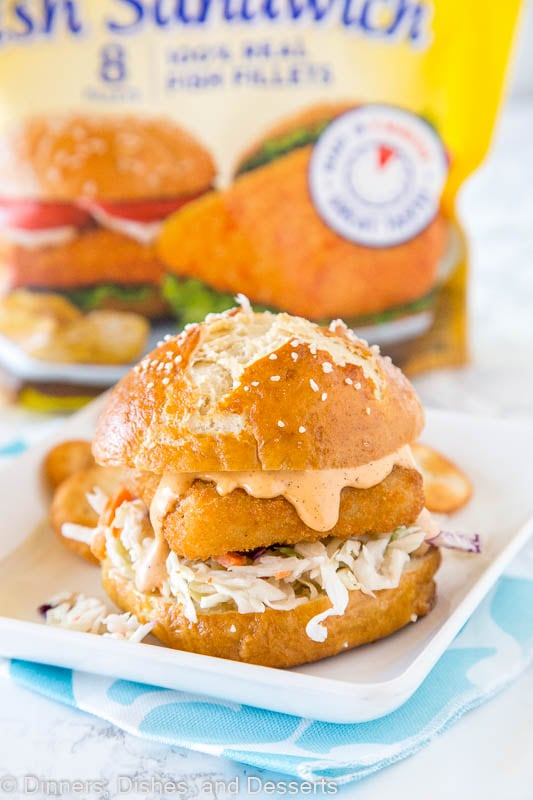 Spicy Fish Sandwich - Crispy fish fillets topped with a spicy tartar sauce