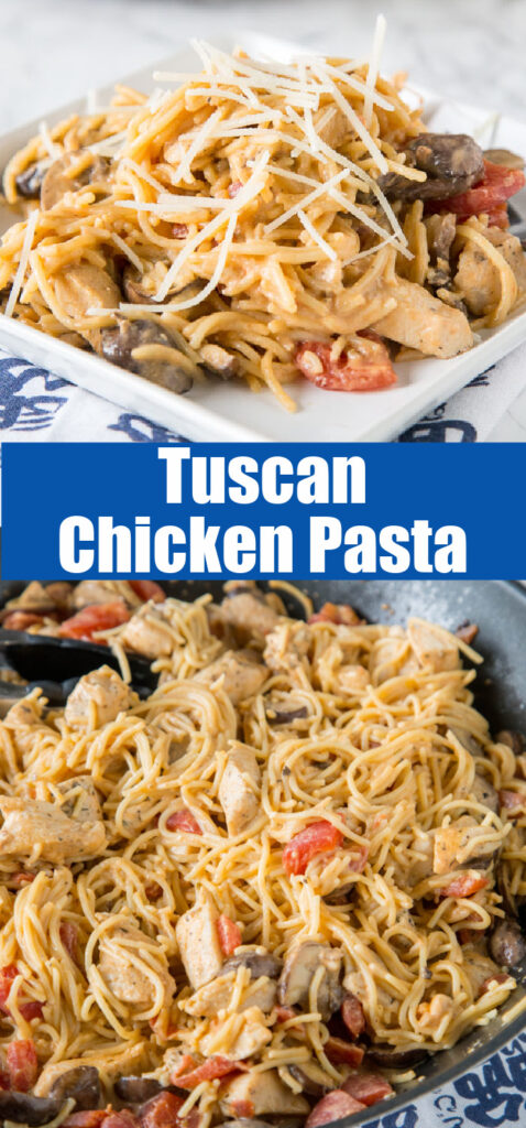 close up of tuscan chicken pasta in a skillet