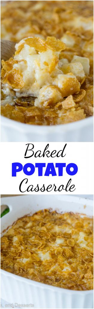 Baked Potato Casserole – a cheesy potato casserole that is great for entertaining, potlucks, or even busy weeknights. Comforting, delicious, and a family favorite.