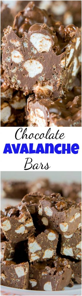 Chocolate Avalanche Bars – super easy no bake avalanche cookies turned into even easier bars made with 3 kinds of chocolate! #dessert #thesimplekitchen #avalanchecookies #chocolate #marshmallows #peanutbutter #nobake #holidaybaking