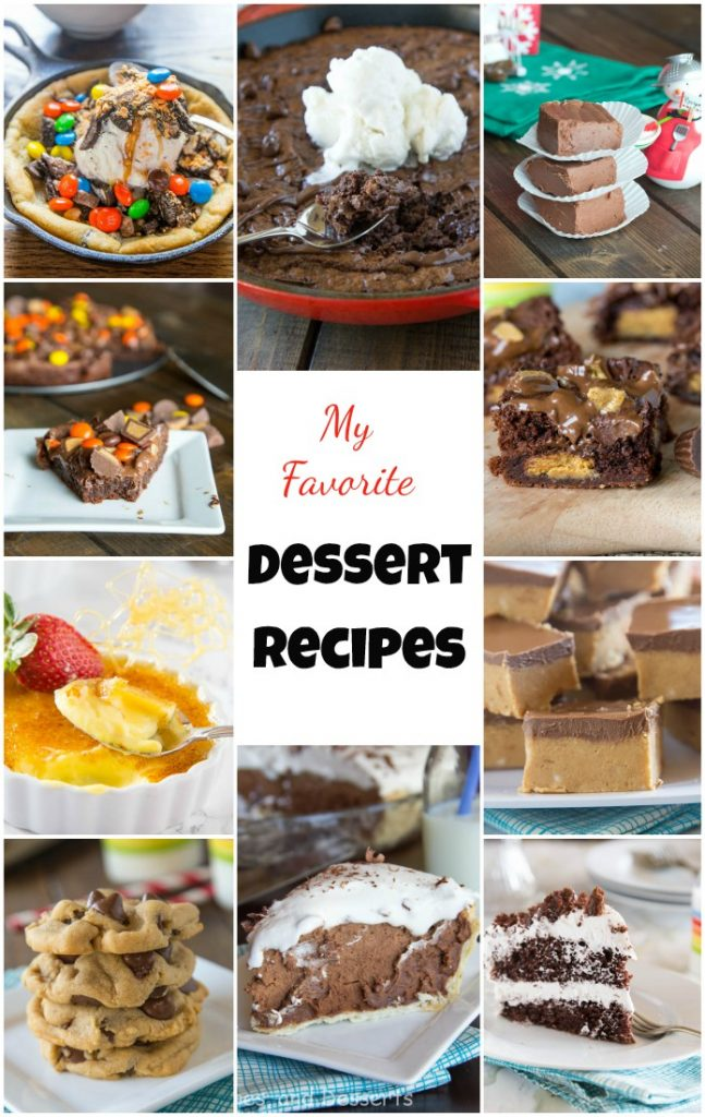 Here are 10 of my Favorite Dessert Recipes. Pie, brownies, cake and more!  Lots of delicious sweet treats!