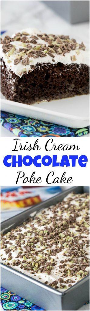 Irish Cream Chocolate Poke Cake - a tender chocolate poke cake spiked with Irish Cream and topped with whipped cream! #cake #dessert #pokecake #irishcream #baileys #boozydessert #chocolatecake #chocolate