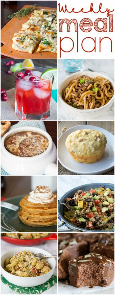 Weekly Meal Plan Week 125 - Make the week easy with this delicious meal plan. 6 dinner recipes, 1 side dish, 1 dessert, and 1 fun cocktail make for a tasty week!