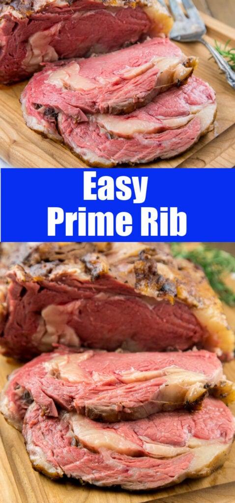 sliced prime rib on cutting board