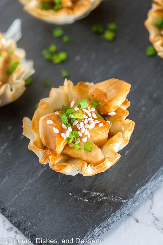Hoisin Glazed Chicken Cups - put an Asian twist on your holiday appetizers!