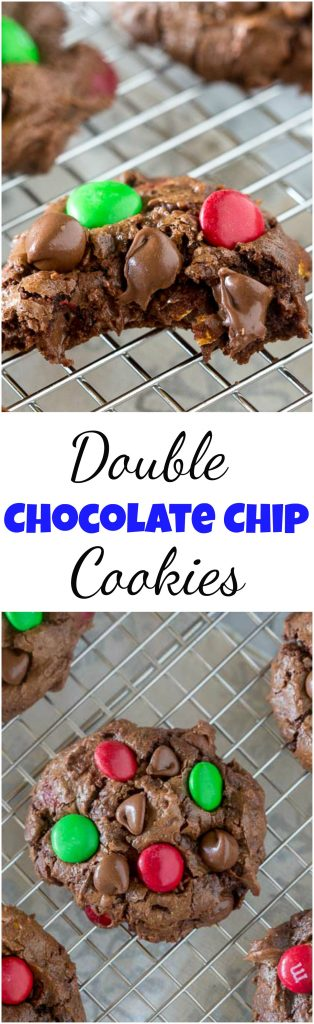 Soft Double Chocolate Chip Cookies - super soft and tender chocolate cookies that will literally melt in your mouth. 3 kinds of chocolate to make them extra delicious!  #cookies #chocolate #christmascookies #doublechocolate #softbatch #M&Mcookies