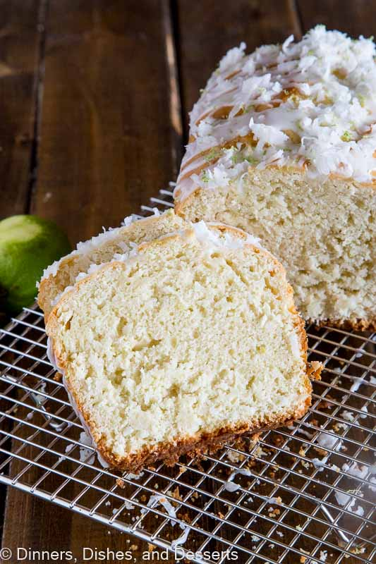 A piece of coconut lime quick bread