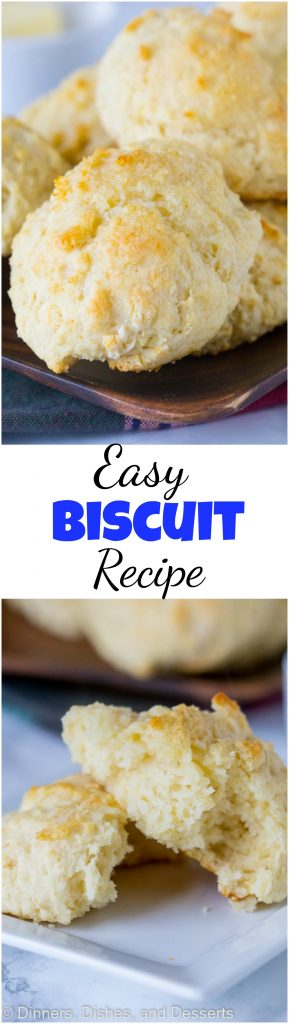 Easy Biscuit Recipe - these are the perfect homemade biscuits. Light, fluffy, tender, buttery, and delicious. Make in minutes any night of the week.  #food #recipe #bread #homemade #biscuits #easyrecipe #sidedish