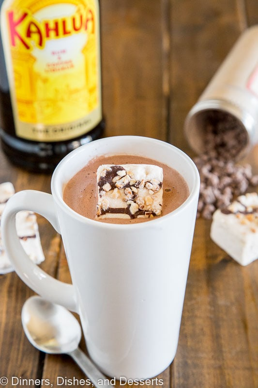 Kahlua Hot Chocolate - warm up with this easy homemade hot chocolate that is spiked with Kahula! Perfect after a day on the slopes or just because you want a special treat!