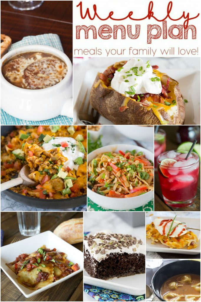 Weekly Meal Plan Week 132 - Make the week easy with this delicious meal plan.  6 dinner recipes, 1 side dish, 1 dessert, and 1 fun cocktail make for a tasty week!
