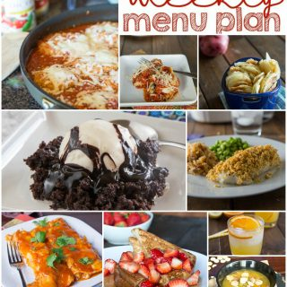 Weekly Meal Plan Week 133 - Make the week easy with this delicious meal plan. 6 dinner recipes, 1 side dish, 1 dessert, and 1 fun cocktail make for a tasty week!