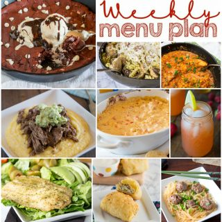 Weekly Meal Plan Week 134 - Make the week easy with this delicious meal plan. 6 dinner recipes, 1 side dish, 1 dessert, and 1 fun cocktail make for a tasty week!
