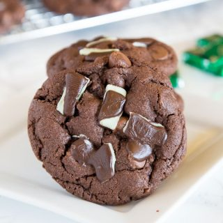 Andes Mint Cake Mix Cookies - Combine 2 favorites, Andes Mint Cookies and Cake Mix Cookies into one and get these super easy, chocolate-y, and fudgy cookies!