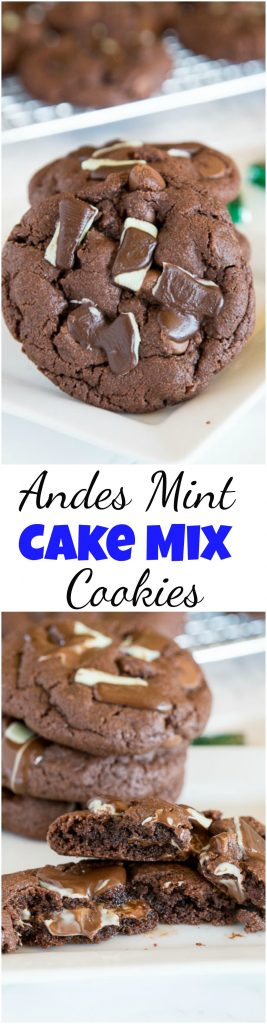 andes mint cake mix cookies collage