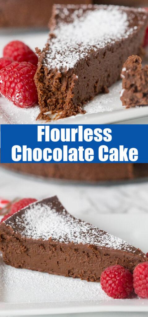 a slice of chocolate flourless chocolate cake close up