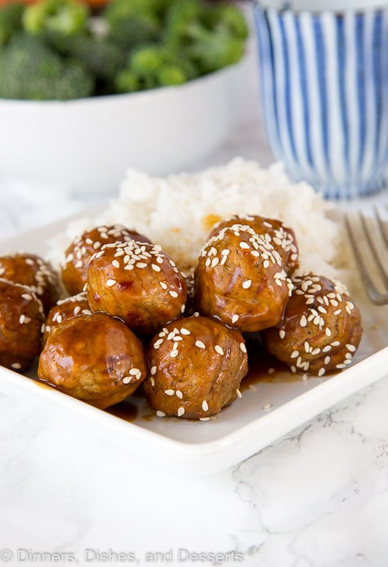 Kung pao chicken meatballs with broccoli
