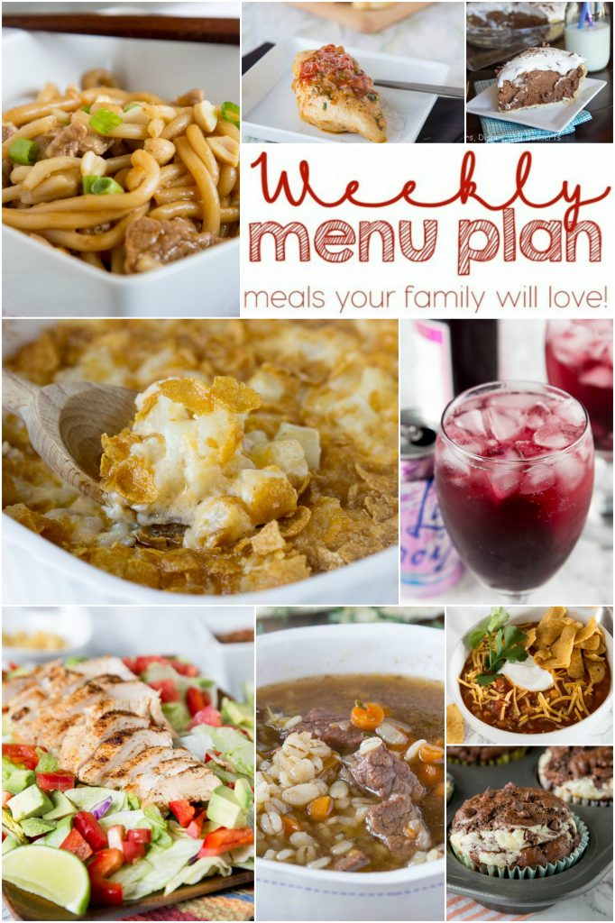 Weekly Meal Plan Week 140 - Make the week easy with this delicious meal plan. 6 dinner recipes, 1 side dish, 1 dessert, and 1 fun cocktail make for a tasty week!