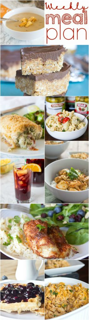 Weekly Meal Plan Week 137 - Make the week easy with this delicious meal plan.  6 dinner recipes, 1 side dish, 1 dessert, and 1 fun cocktail make for a tasty week!