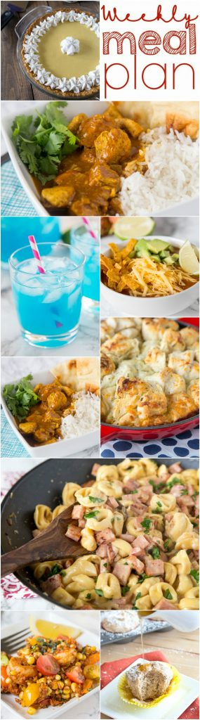 Weekly Meal Plan Week 141 - Make the week easy with this delicious meal plan. 6 dinner recipes, 1 side dish, 1 dessert, and 1 fun cocktail make for a tasty week!
