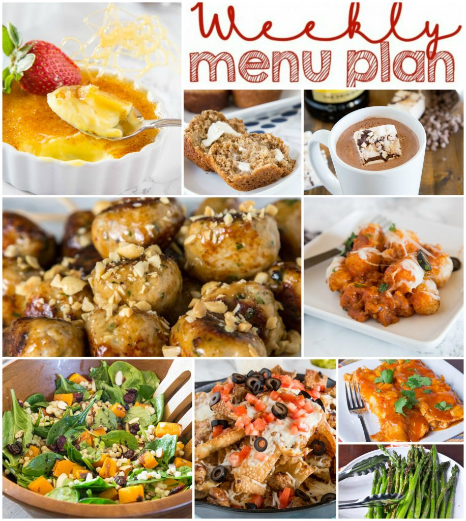 Weekly Meal Plan Week 136 - Make the week easy with this delicious meal plan. 6 dinner recipes, 1 side dish, 1 dessert, and 1 fun cocktail make for a tasty week!