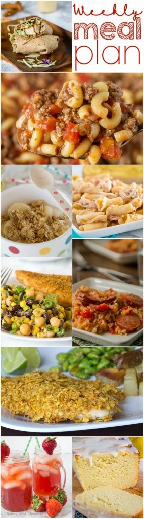 Weekly Meal Plan Week 144 - Make the week easy with this delicious meal plan. 6 dinner recipes, 1 side dish, 1 dessert, and 1 fun cocktail make for a tasty week!
