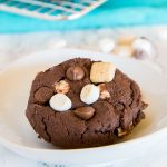 S'mores Chocolate Cake Mix Cookies - super easy cake mix cookies loaded with marshmallows, more chocolate, and graham cracker pieces. Soft, chewy, and fudgy chocolate cookie perfection!