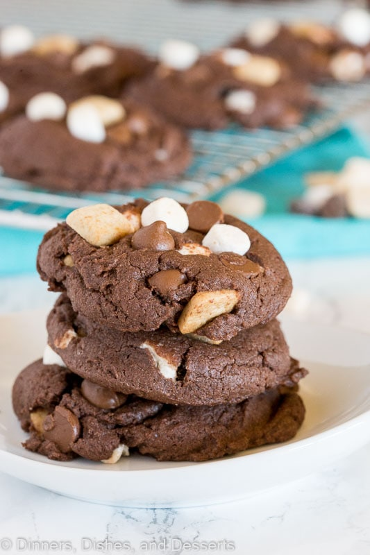 Stacked chocolate cake mix cookies with s'mores mix ins