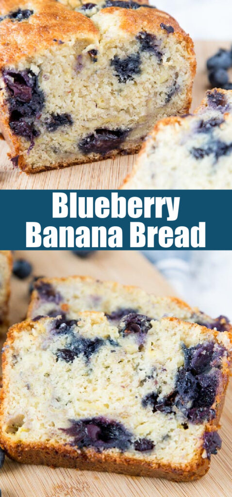 banana bread with blueberries sliced on cutting board