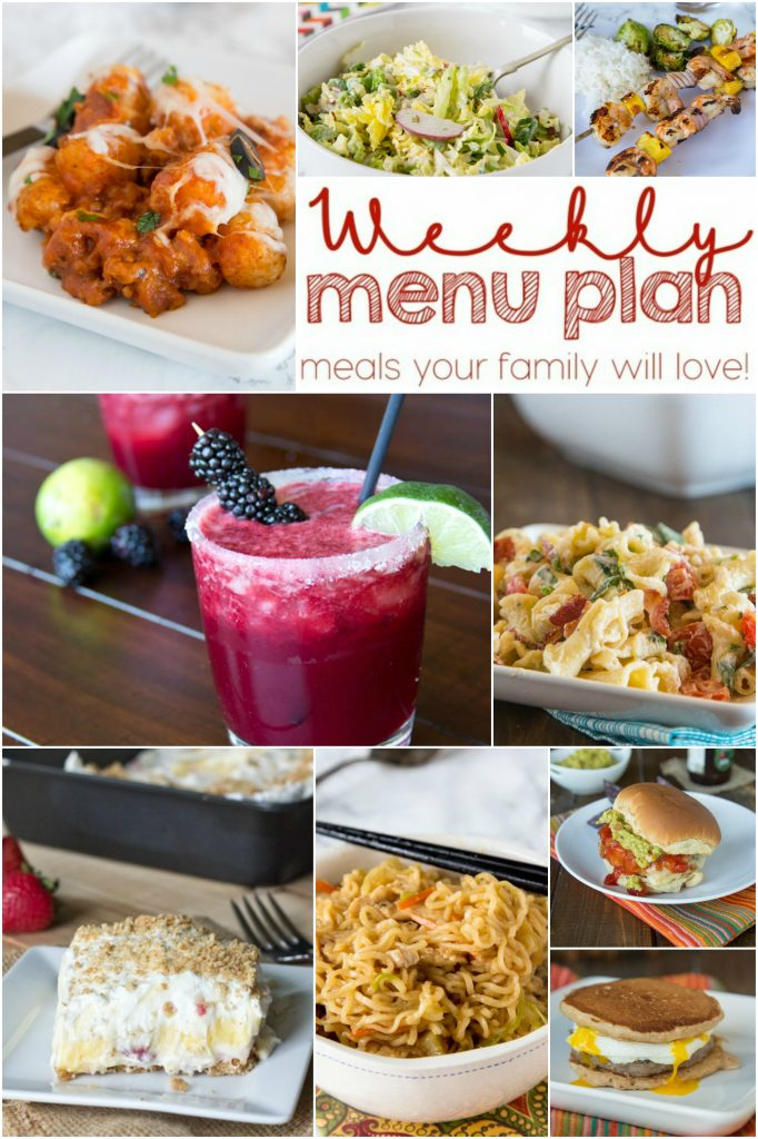 Weekly Meal Plan Week 147 - Make the week easy with this delicious meal plan. 6 dinner recipes, 1 side dish, 1 dessert, and 1 fun cocktail make for a tasty week!