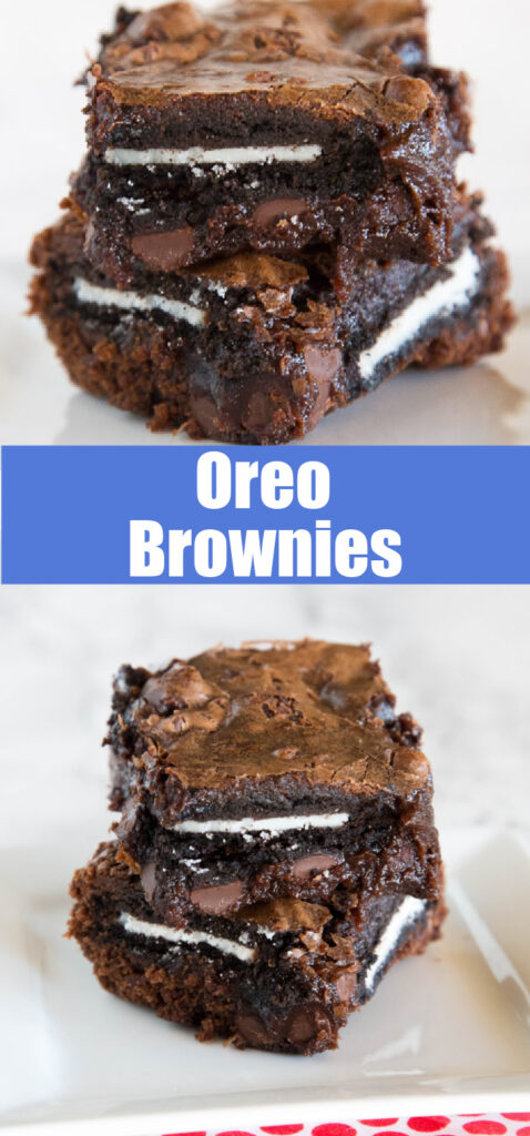 Oreo brownies stacked on a plate