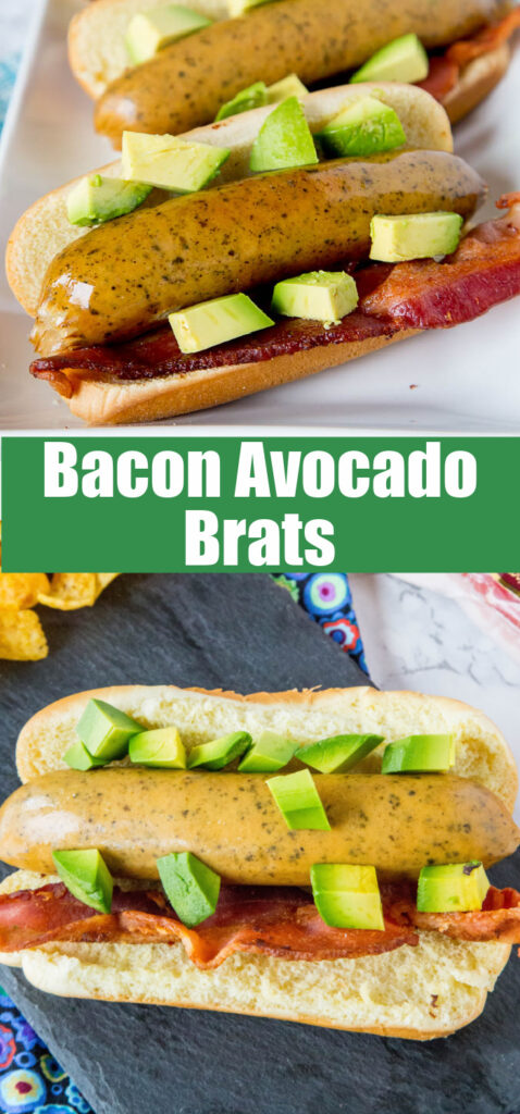 looking down on grilled brats with bacon and avocado
