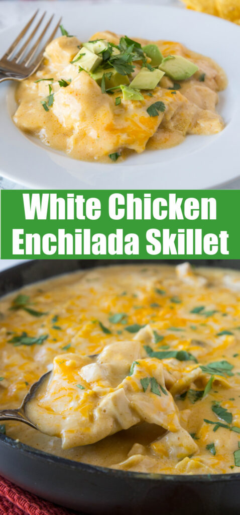 white chicken enchilada skillet collage