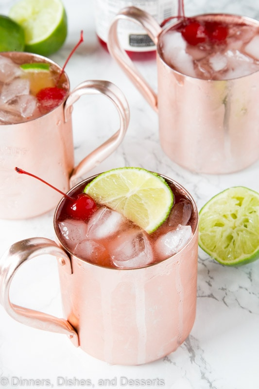 Cherry Limeade Moscow Mule - turn a classic Moscow mule into a fun summer cocktail flavored like a cherry limeade!  Fun, delicious and refreshing!