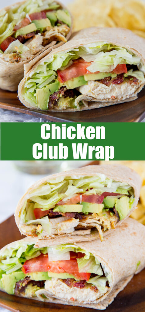 chicken club wrap sliced in half on a plate
