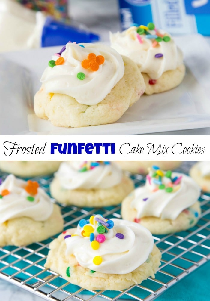 Frosted Funfetti Cake Mix Cookies - super easy and soft funfetti cookies topped with a swirl of vanilla frosting and more sprinkles.  These cake mix cookies come together in minutes and are sure to impress!