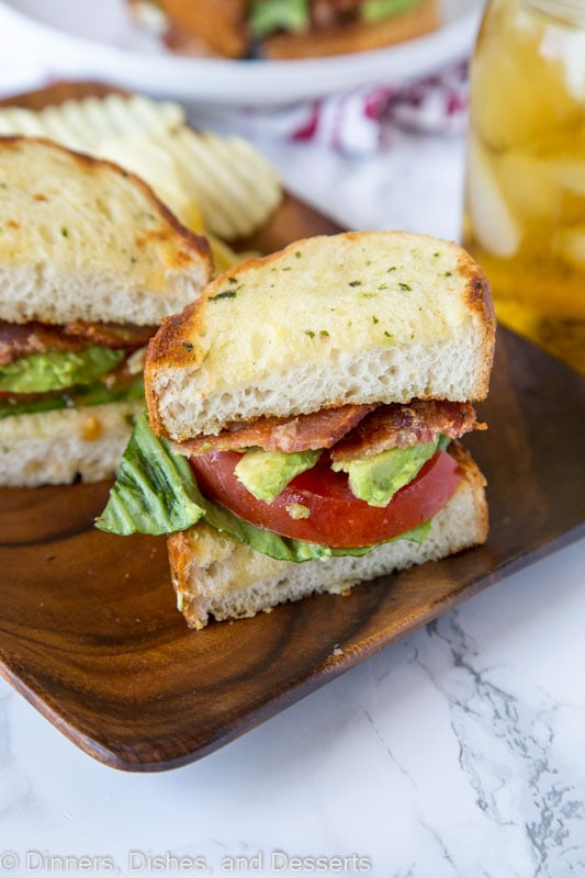Garlic Bread BLT - use garlic bread to make your BLT over the top! Buttery, crispy, and extra delicious!