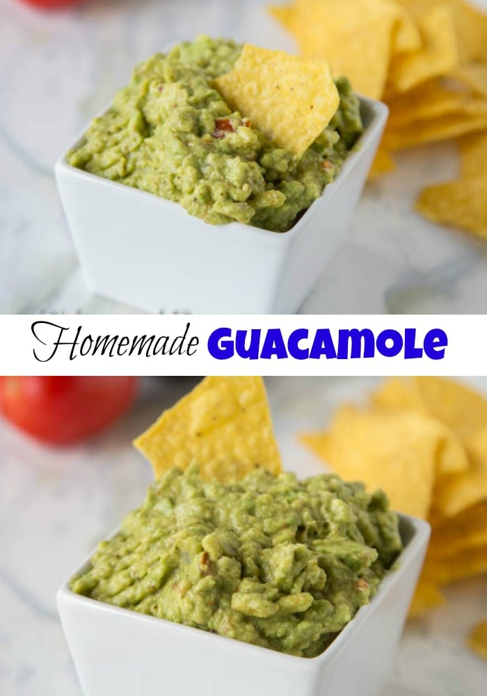 Homemade Guacamole - super easy guacamole recipe with ripe avocados, tomatoes, onions and a couple spices.  Perfect with quesadillas, tacos or just with tortilla chips.