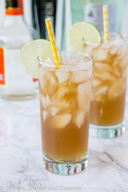 A close up of long island iced tea in a glass