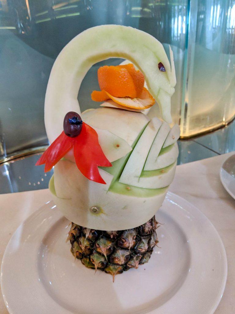 a melon carved like a swan